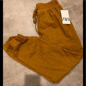 Zara gold wind pants